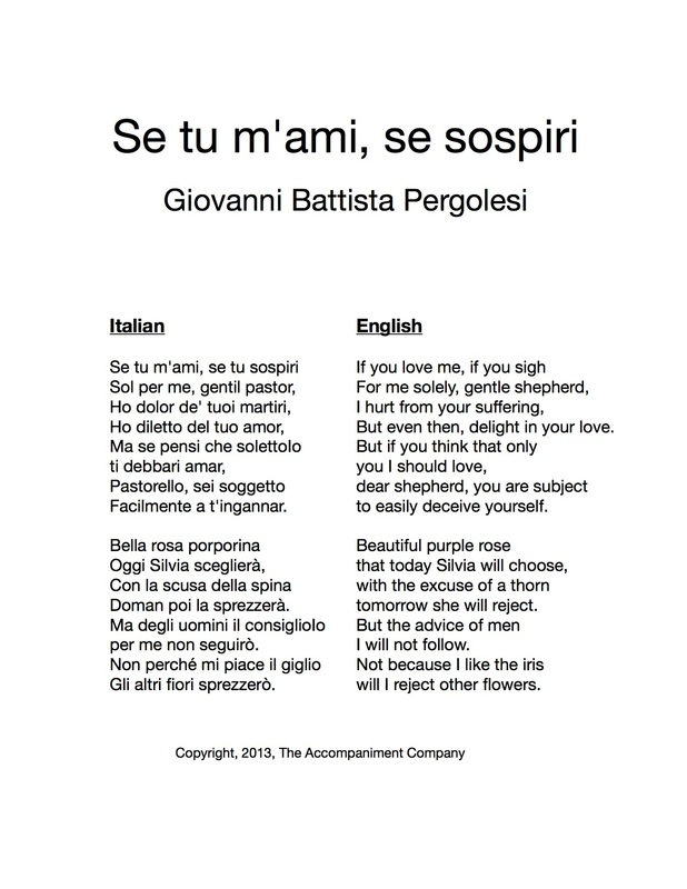 Se Tu M'ami, Se Sospiri - The Accompaniment Company Piano ...